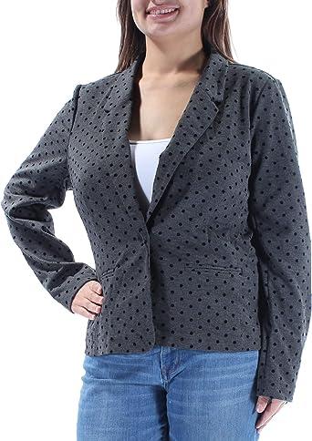kensie Womens Long Sleeve Flocked Velvet Polka Dot Blazer