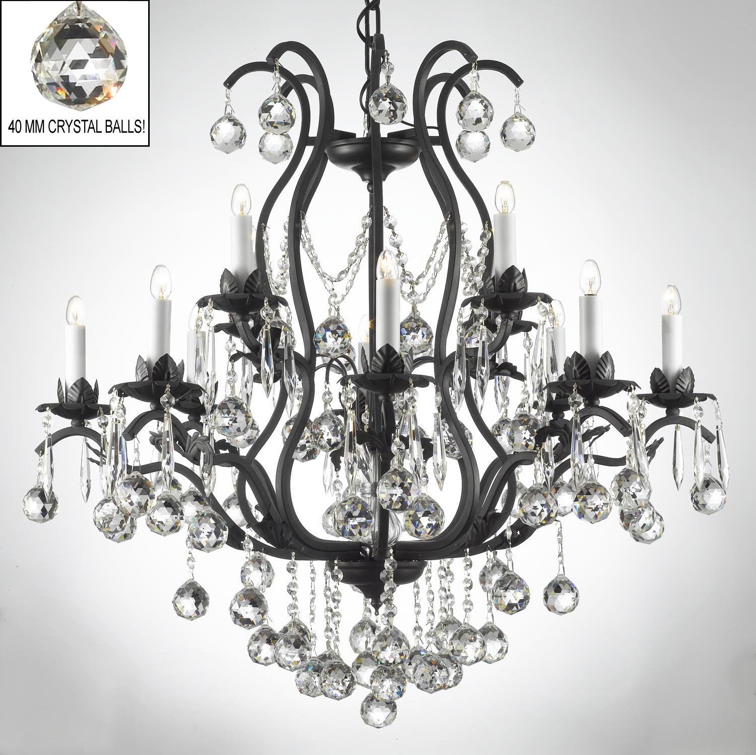 Swarovski crystal trimmed chandelier wrought iron crystal swarovski crystal trimmed chandelier wrought iron crystal chandelier chandeliers lighting dressed w crystal balls h36 w36 amazon mozeypictures Gallery