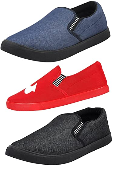 bdecd973f31 Fitbloom Men s Perfect Combo of 3 Casual Loafers Shoes Navy BLU Red Black  (10