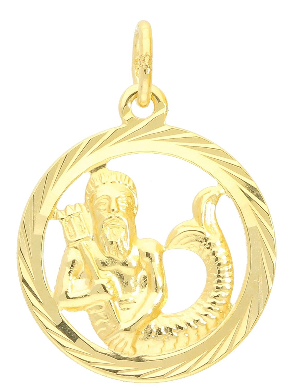 MyGold Sternzeichen Anhänger Wassermann (Ohne Kette) Gelbgold 333 Gold (8 Karat) Diamantiert Innen Offen Ø 15mm Rund Tierkreiszeichen Horoskop Geschenke Geschenkideen Gavno A-04433-G302-Was