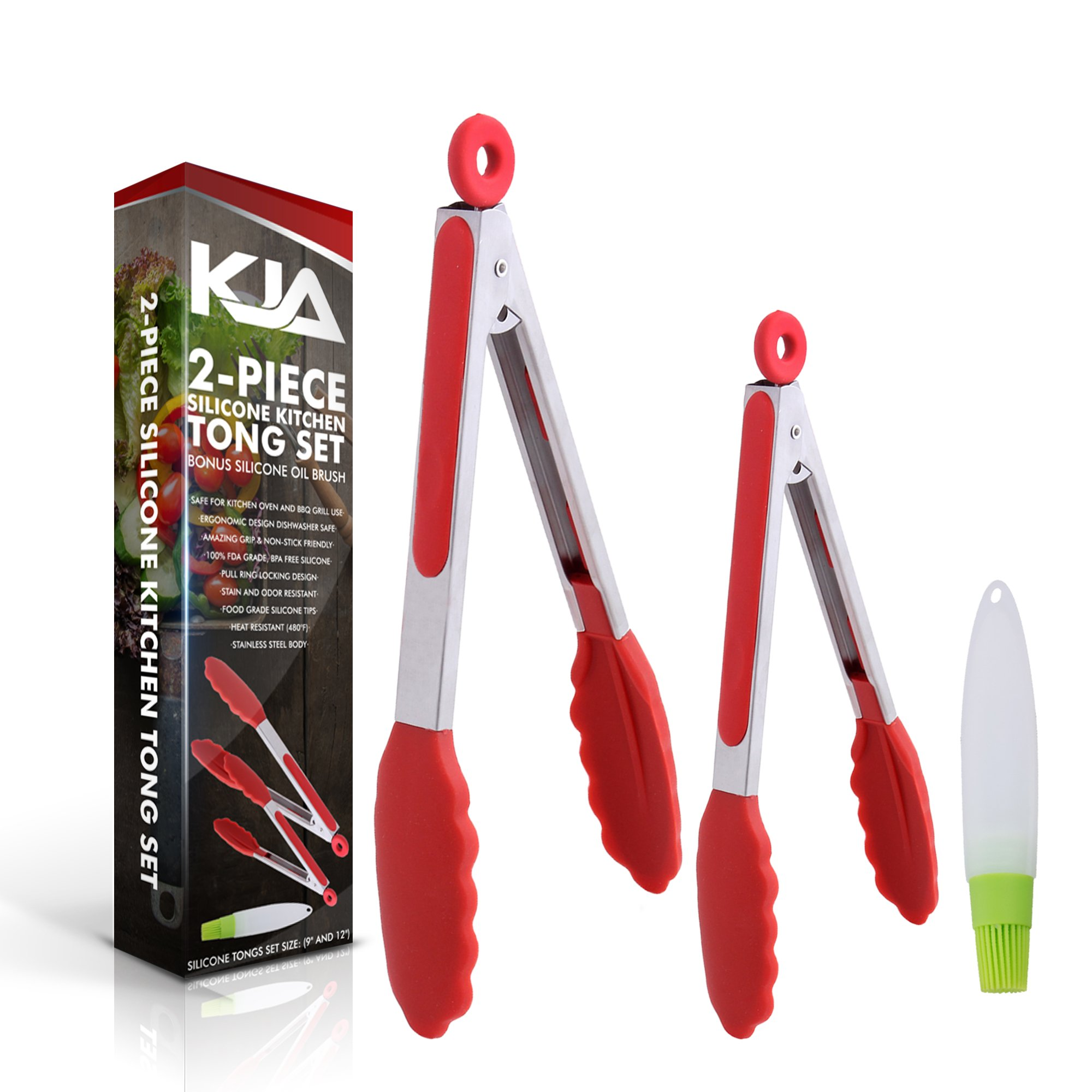 KJA Premium Kitchen Tongs: Set Of 2 (9 and 12 inch) Food Tongs Made With Heat Resistant Silicone – Stainless Steel Utensil For Cooking, BBQ, Grilling, Salad, Fish & Serving – Free Silicone Oil Brush