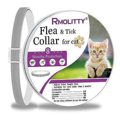 Rmolitty Collar Antiparasitario Gato Collar para garrapatas, 8 Meses de Protección para Gato (8 Meses de protección)