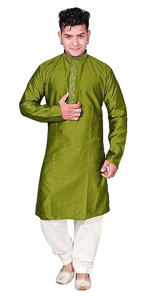 7d00ad2e1e Mens Indian Olive Green with cream Sherwani kurta Shalwar kameez pajama set  833: Amazon.ca: Clothing & Accessories