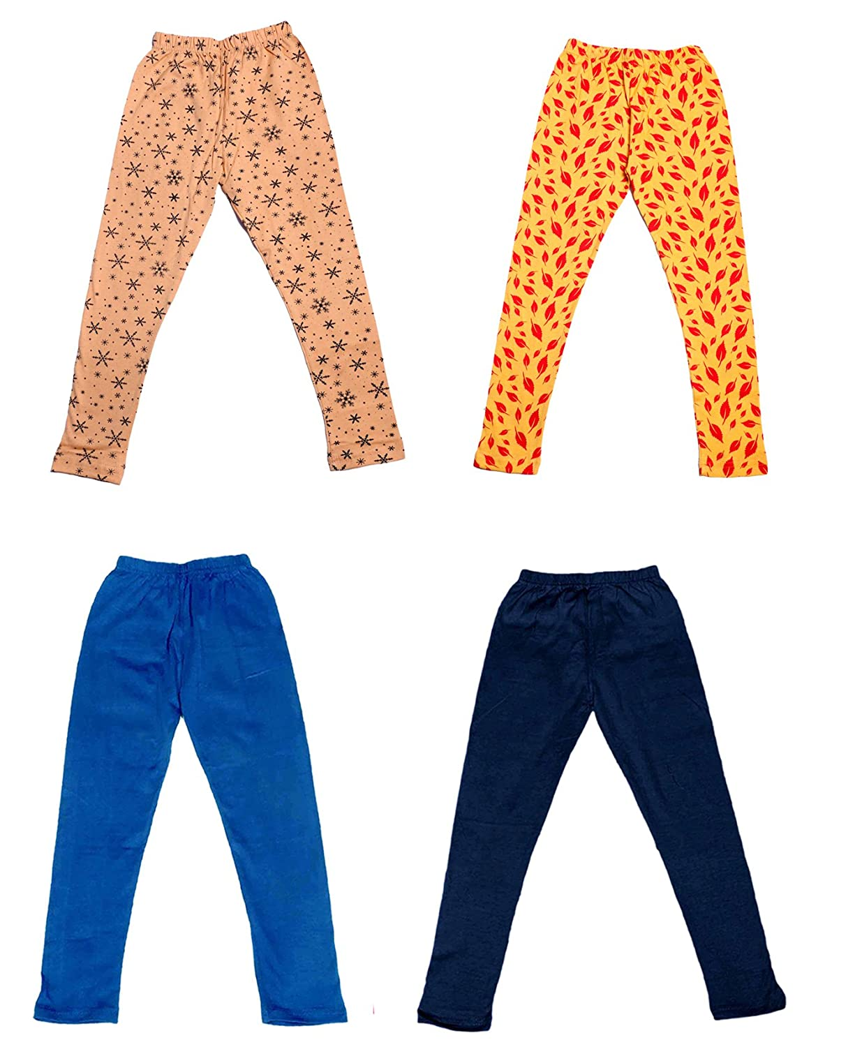 Indistar Girls 2 Cotton Solid Legging Pants and 2 Cotton Printed Legging Pants Pack Of 4 /_Multicolor/_Size-4-5 Years/_71409101819-IW-P4-26