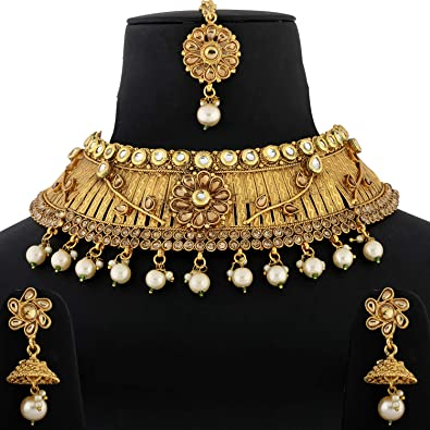 Buy Silver Shine Gold Plated Choker Traditional Self Textured