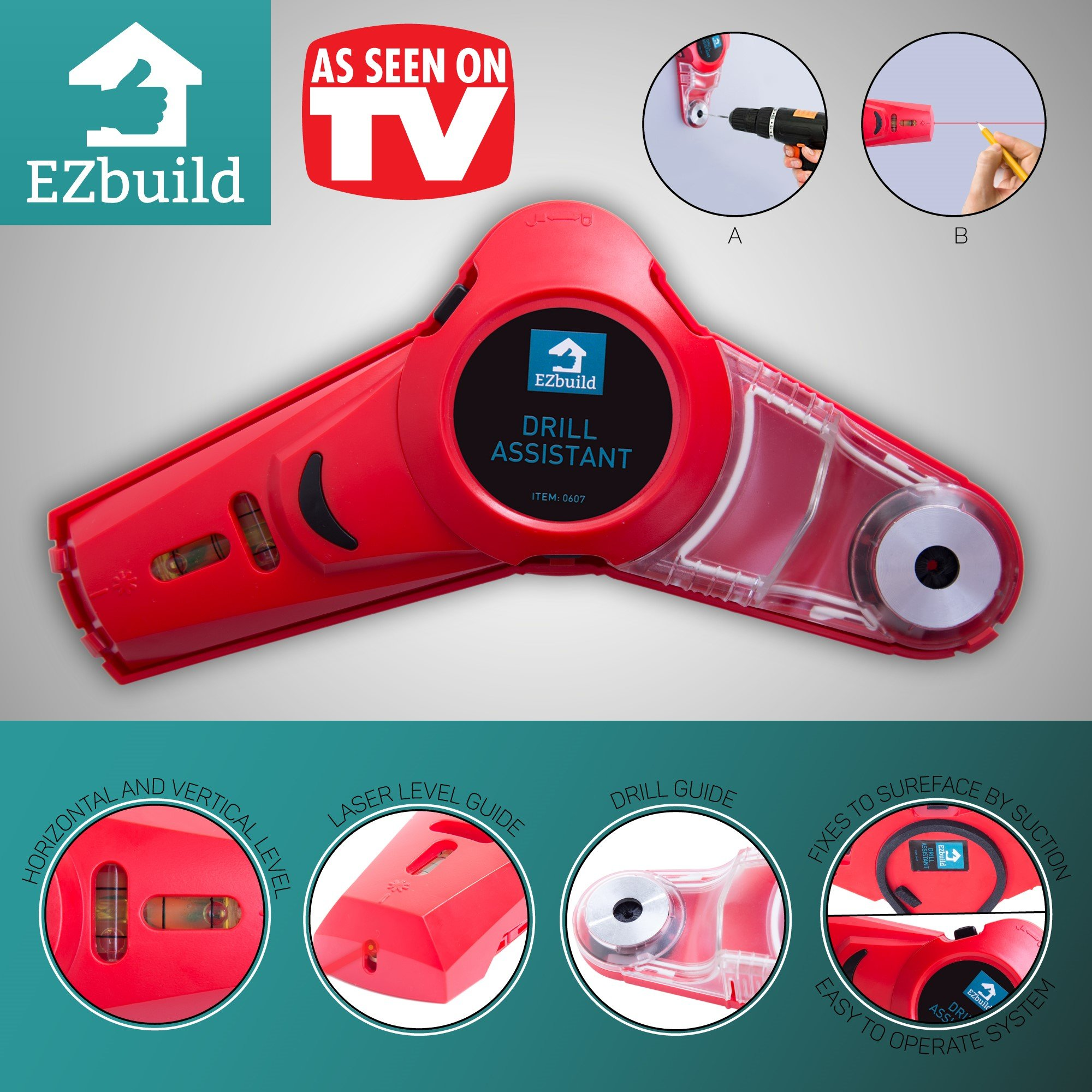 Drill Dust Collector Tool with Laser Level Picture Hanging Tools for Men l Cordless Dust Collector Measuring Alignment and Drilling Support | Drill Buddy DIY Projects