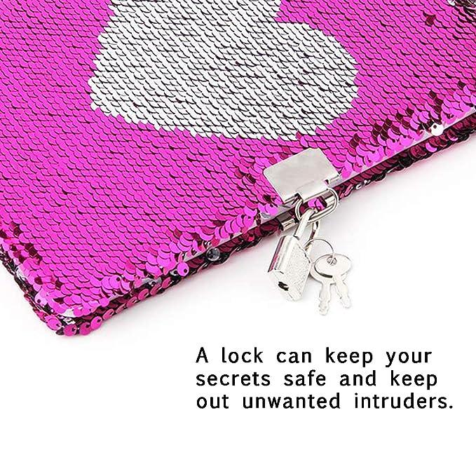 Amazon.com: Cuaderno de lentejuelas mágico con cerradura ...