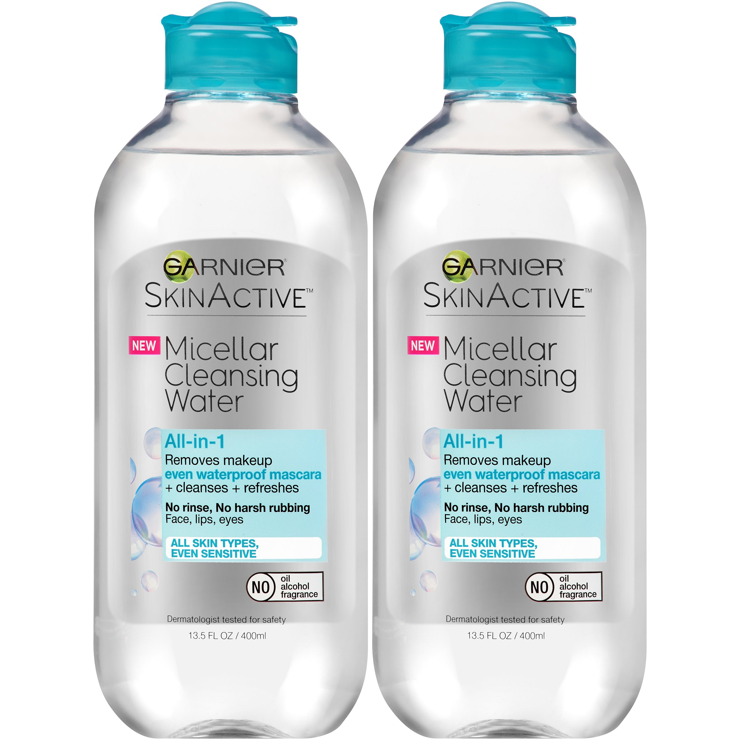Garnier SkinActive Micellar Cleansing Water, All-in-1 Waterproof Makeup Remover and Facial Cleanser, 13.5 fl oz, 2 Pack by Garnier