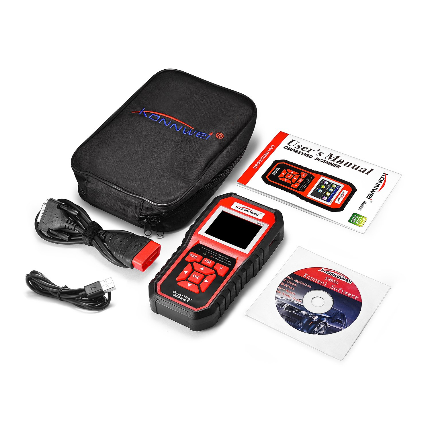 Areyourshop KW850 OBDII OBD2 Car Auto Truck TFT Colorful Display Diagnostic Scanner Tool