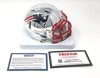 timeless design b7f5d 108b1 Tom Brady New England Patriots Signed Autograph Speed CHROME Mini Helmet  Tristar Authentic & Steiner Sports Certified