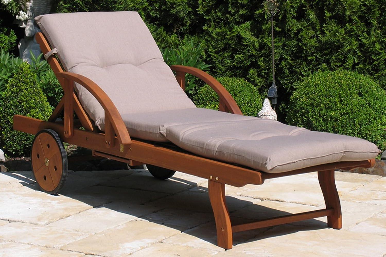 Gartenliege mit Kissen Sand Holz Liege Sonnenliege Relaxliege