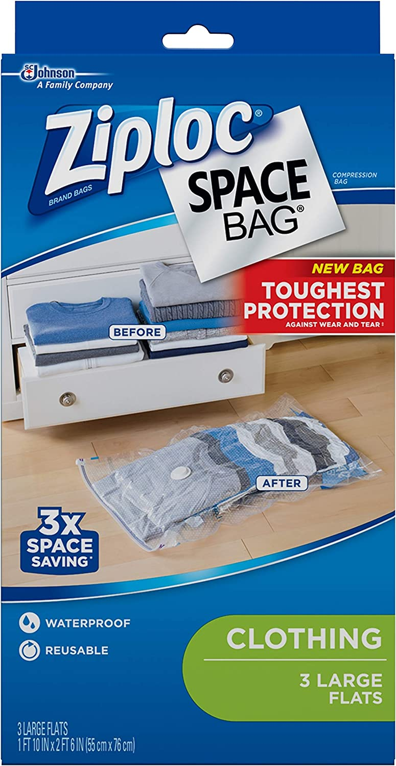 Travel Space Saver Resealable Large Frosted Plastic Bag N1 Zip lock Storage Bags x50 280x350mm Towels Clothes Storage Plastic Freezer bag 50, 280 x 350 Organiser and More