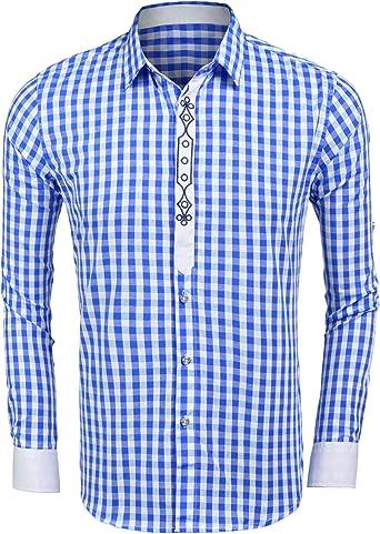 Burlady Camisas de Manga Larga para Hombre, Camisas de Traje Regional de Cuadros de Corte Regular: Amazon.es: Ropa y accesorios