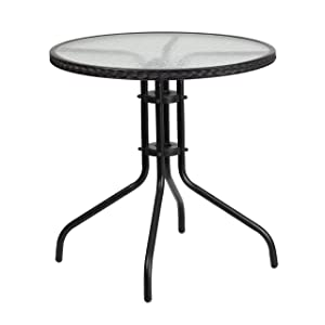 Flash Furniture 28'' Round Tempered Glass Metal Table with Black Rattan Edging