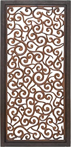Deco 79 Traditional Scroll-Designed Wood Wall Panel W-34092