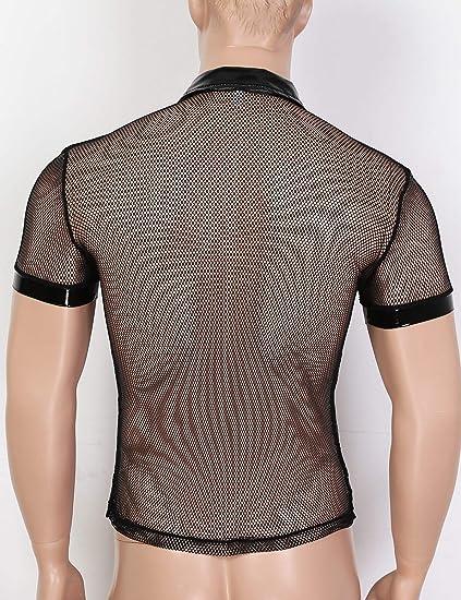 iiniim Camiseta de Malla Hombre Camisa Negro Fishnet Transparente Manga Corta Clubwear Apretada Muscular Traje de Fiesta Clubwear Ropa de Noche para Chicos: Amazon.es: Ropa y accesorios