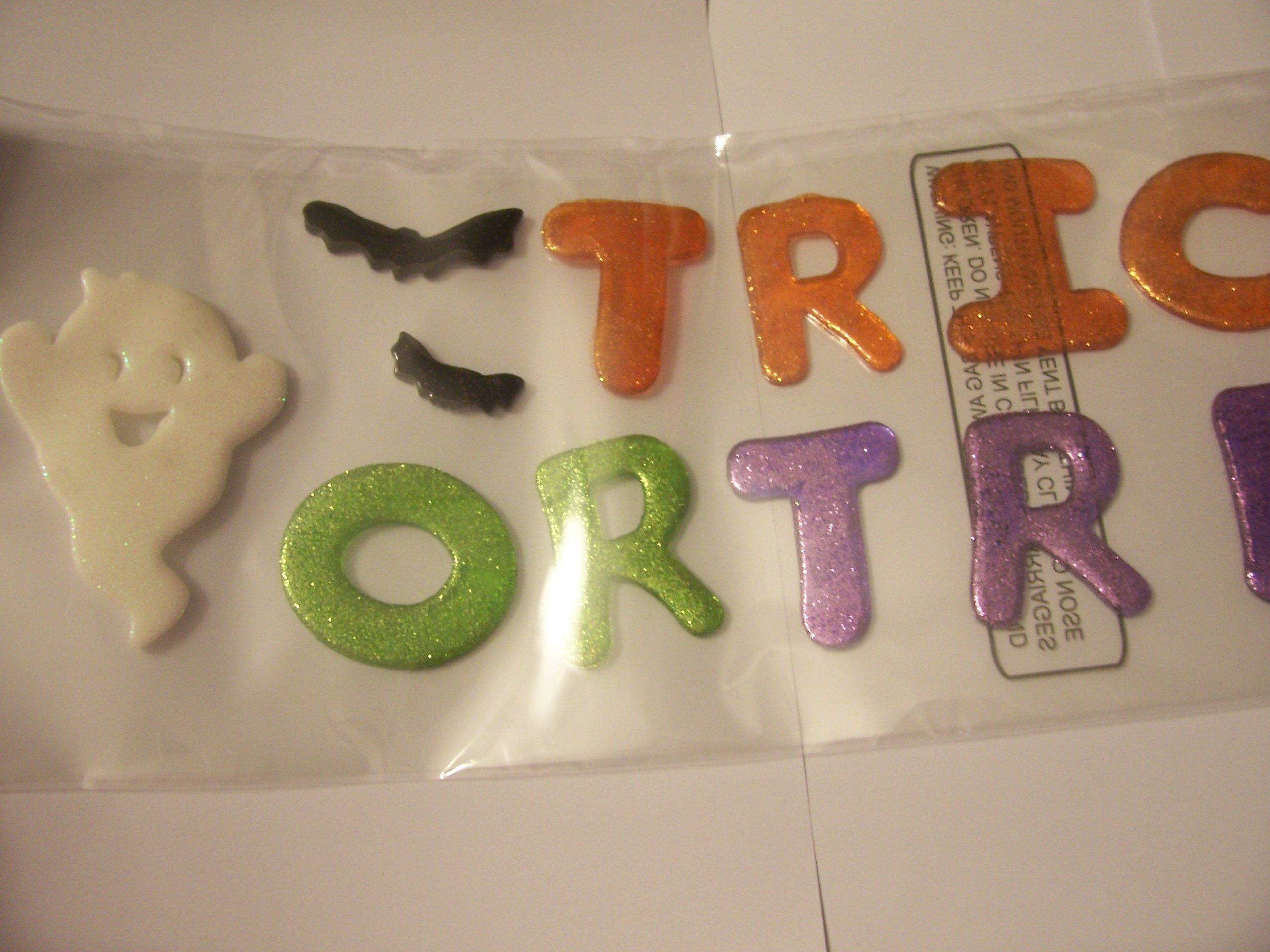 Halloween Long Window Gel Glitter Clings ~ Trick or Treat, Ghosts, Bats (19 Clings)