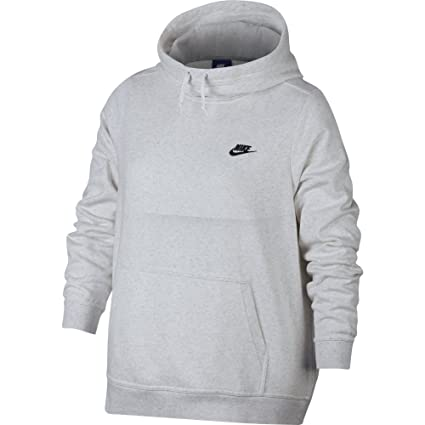 c2a0069189b15 Amazon.com: NIKE Sportswear Women's Plus Club Funnel-Neck Hoodie, Birch  Heather/Birch Heather/White/Black, 1X: Clothing