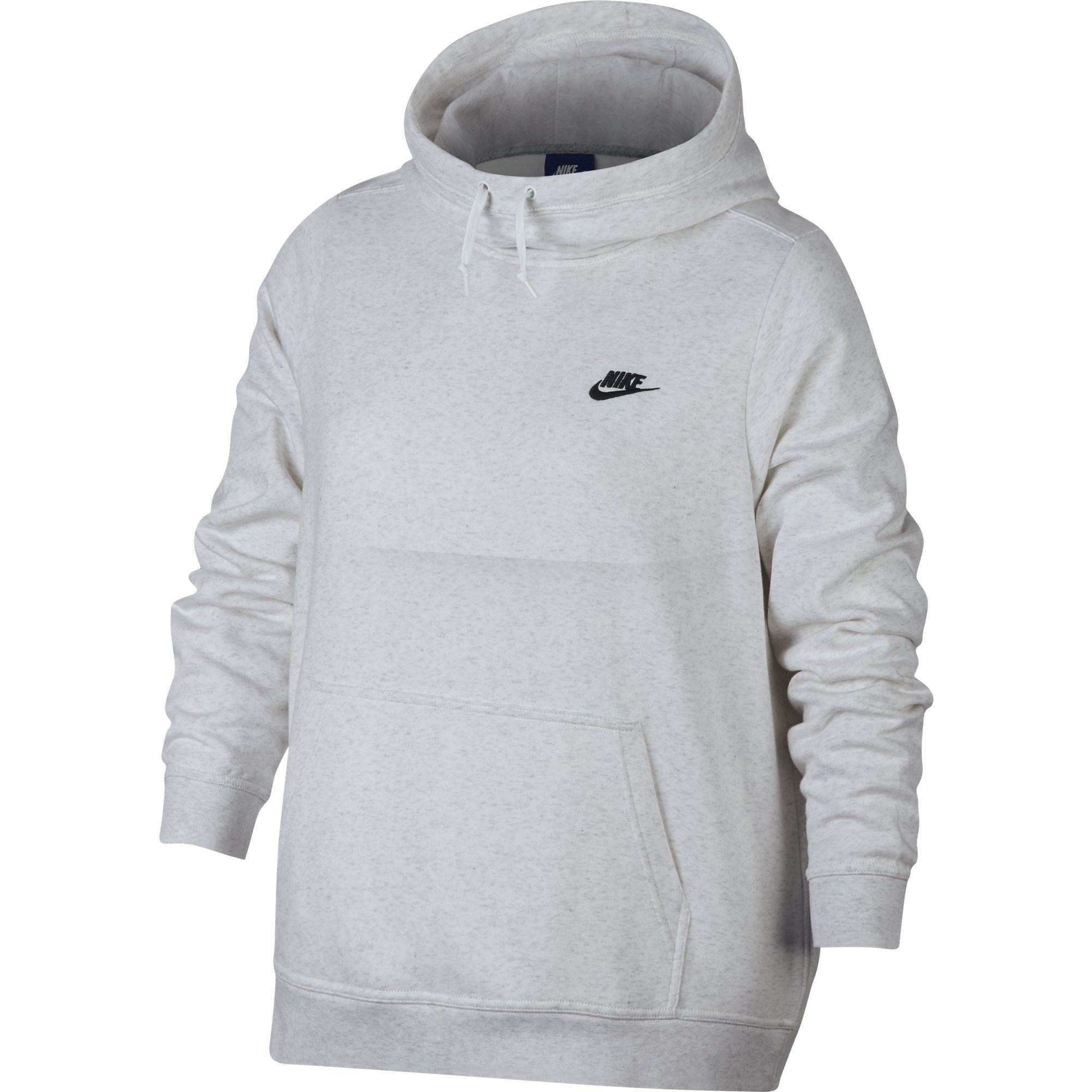 NIKE Sportswear Women's Plus Club Funnel-Neck Hoodie, Birch Heather/Birch Heather/White/Black, 1X