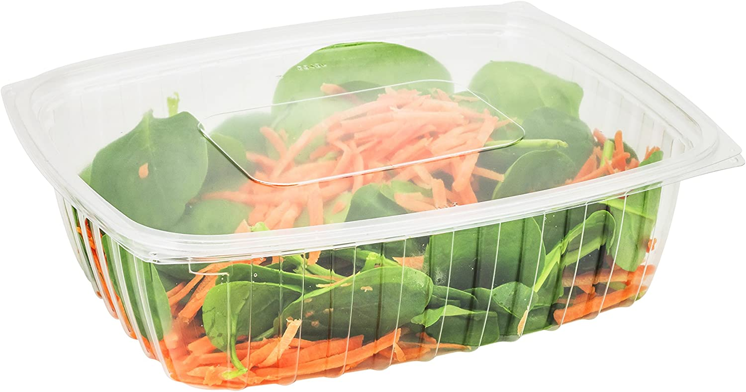 Dart C32DER, 32-Ounce ClearPac Clear Rectangular Plastic Container With A Flat Lid, Take Out Salad Deli Fruit Food Disposable Containers (100)