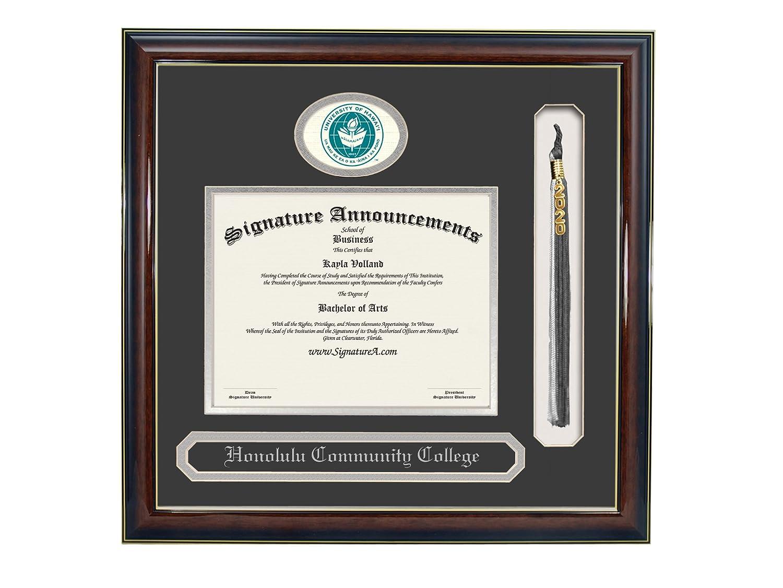 Signature Announcements Honolulu-Community-College Undergraduate Name /& Tassel Graduation Diploma Frame Gold Accent Gloss Mahogany Sculpted Foil Seal 16 x 16