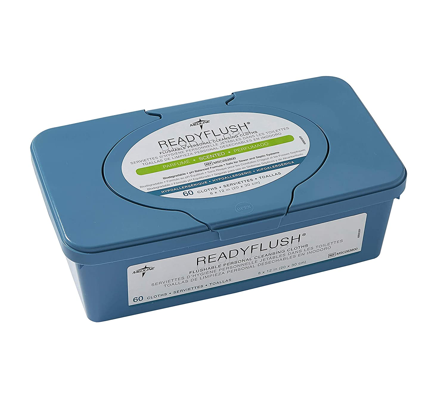 Medline ReadyFlush Large Adult-Sized 8x12 Personal Cleansing Cloths - Tub of 60 Flushable Wipes