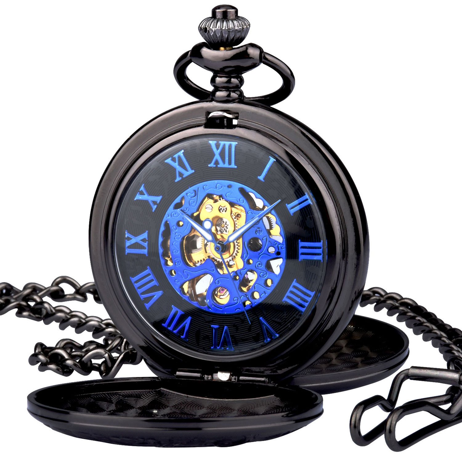 Men Women Full Double Hunter Steampunk Mechanical Pocket Watch with Chain by zeiger