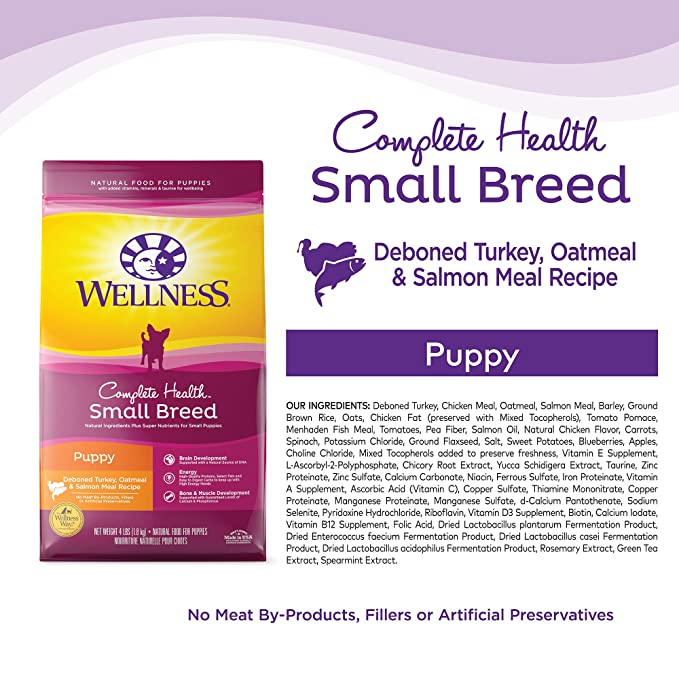 amazon com wellness complete health natural dry small breed puppy food turkey salmon oatmeal 12 pound bag pet supplies