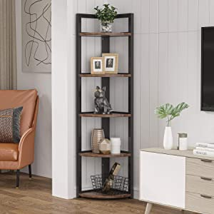 TRIBESIGNS WAY TO ORIGIN 5 Tier Corner Shelves, Corner Bookshelf 5-Shelf Corner Bookcase, Indoor Plant Stand Flower Storage Rack for Living Room, Small Space (Brown)