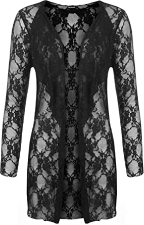 Plus Size Womens Floral Lace Open Cardigan Ladies Long Sleeve ...