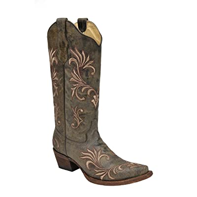 Corral Women's Circle G Distressed Green/Beige Filigree Embroidered Western Boot   Boots