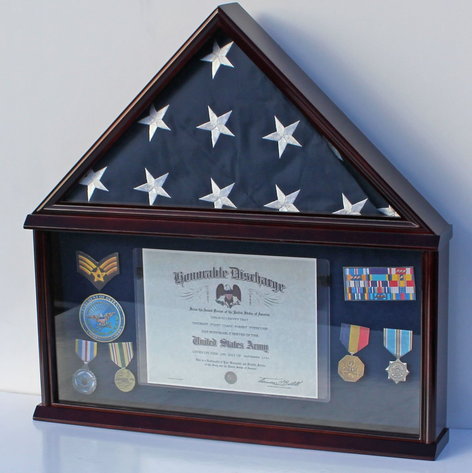 Elegant Memorial/Funeral Flag Display Case Storage Military Shadow Box, for Memorial Flag, FC07 (with NO Mat and Medallion) by DisplayGifts