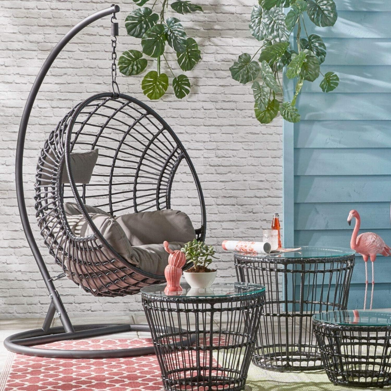 Dawsons Living Milan Hanging Egg Chair Outdoor And Indoor Rattan Weave Swing Hammock Hanging Stand And Floor Stand Black Amazon Co Uk Garden Outdoors