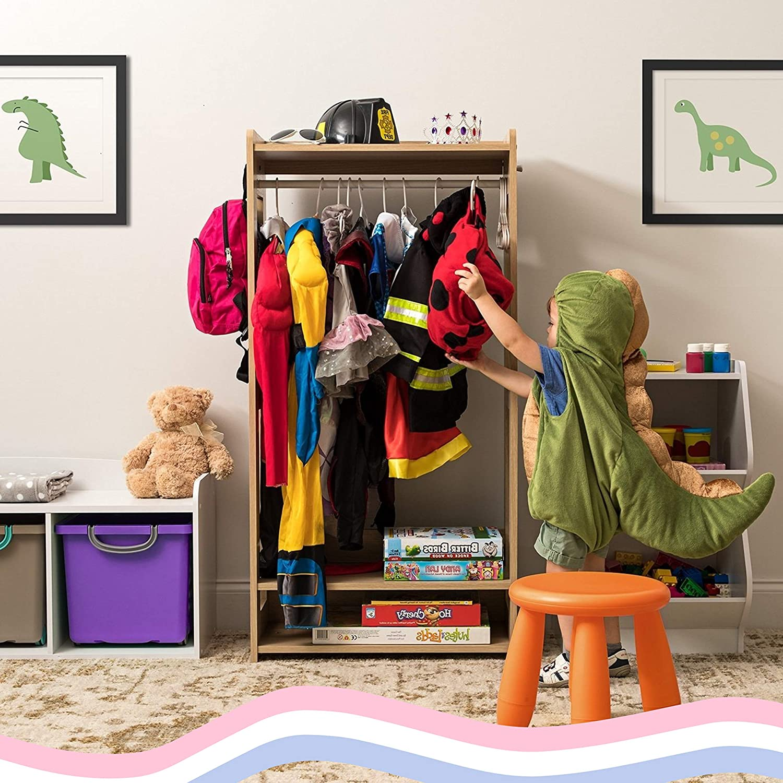 Homelity Kids Dress Up Rack, Child Garment Rack, Girls Toddlers Clothes Wardrobe, Dress Up Storage Costume Organizer, Wooden Hanging Armoire Closet Unit Furniture, Dramatic Play Storage (Natural)