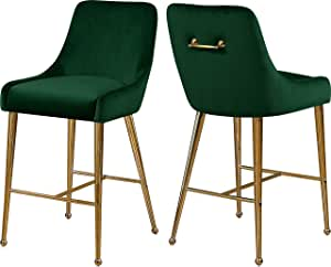 "Meridian Furniture 745Green Owen Collection Modern | Contemporary Velvet Upholstered Counter Stool with Polished Gold Metal Legs, Set of 2, 23"" W x 21"" D x 40"" H, Green"