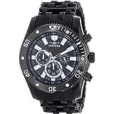 Invicta Men's Sea Spider 50mm Black Stainless Steel and Polyurethane Band Quartz Watch, Black (Model: 14862)