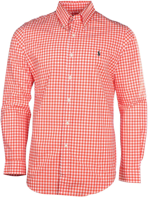 Polo Ralph Lauren para hombre L/S Gingham Poplin camisa-naranja/blanco-grande: Amazon.es: Ropa y accesorios