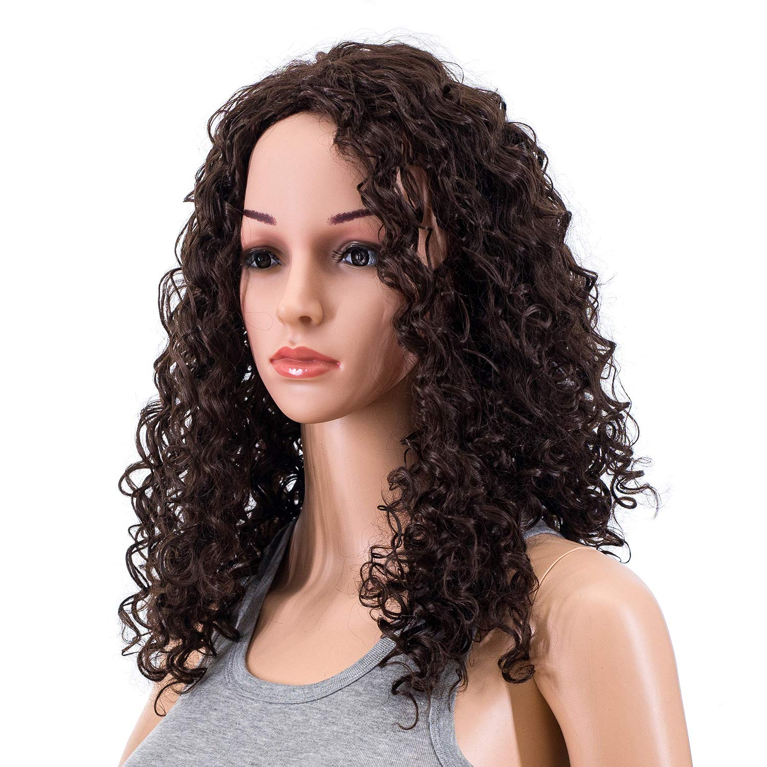 SWACC 20-Inch Long Big Bouffant Curly Wigs for Women Synthetic Heat Resistant Fiber Hair Pieces with Wig Cap (Black)