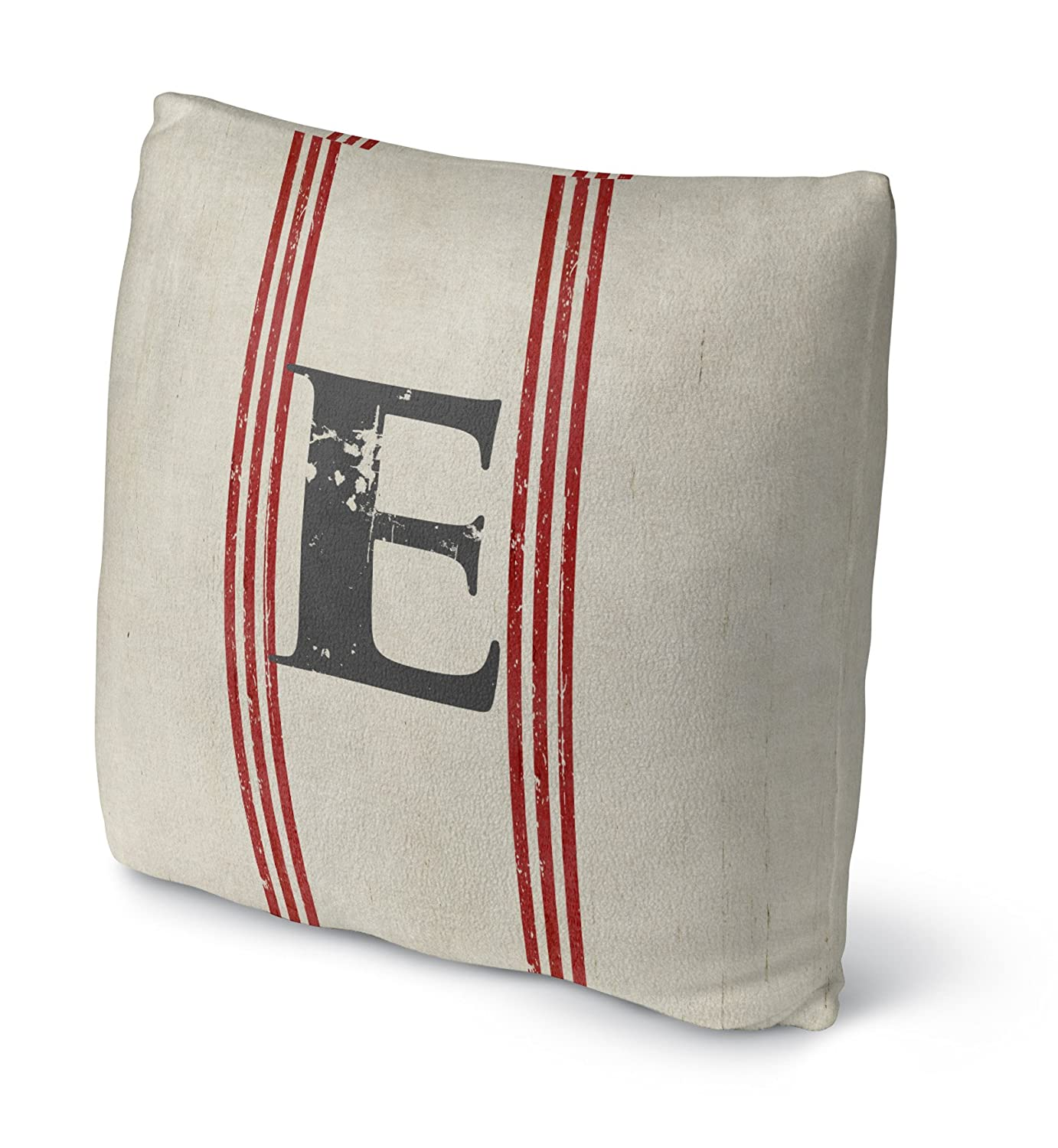 KAVKA Designs E Fleece Throw Pillow, - TELAVC1284FBS16 Size: 16X16X4 - Ivory//Red//Black