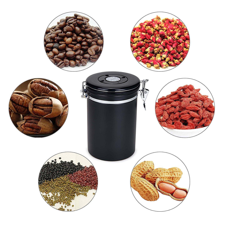 Movaty Kaffeedose Luftdicht,Kaffeebehälter,Kaffeedose Edelstahl Aromadose Vorratsdose Vakuum Dose für Kaffeebohnen, Pulver, Tee, Nüsse, Kakao(Schwarz, 500g)