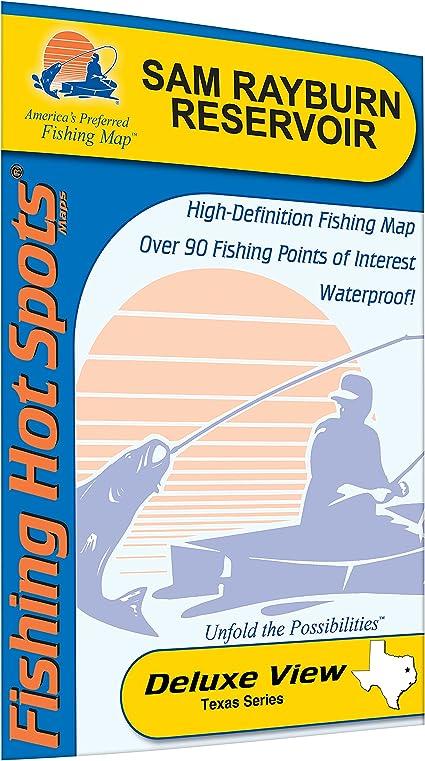 Amazon Com Sam Rayburn Reservoir Pesca Mapa Sports Outdoors