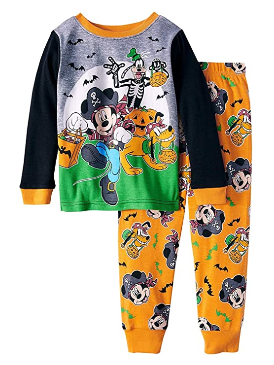 Mickey Mouse Halloween Glow-in-The-Dark Cotton Tight Fit Pajamas, 2-Piece Set (Toddler Boys) (3T)