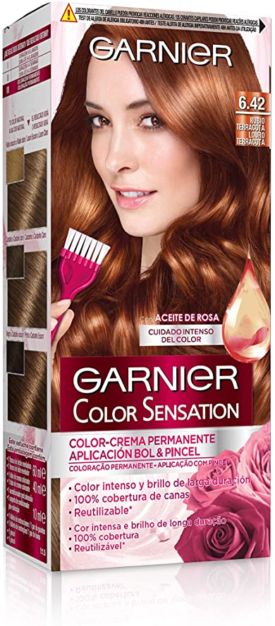 Garnier Color Sensation - Tinte Permanente Rubio Terracota 6.42, disponible en más de 20 tonos