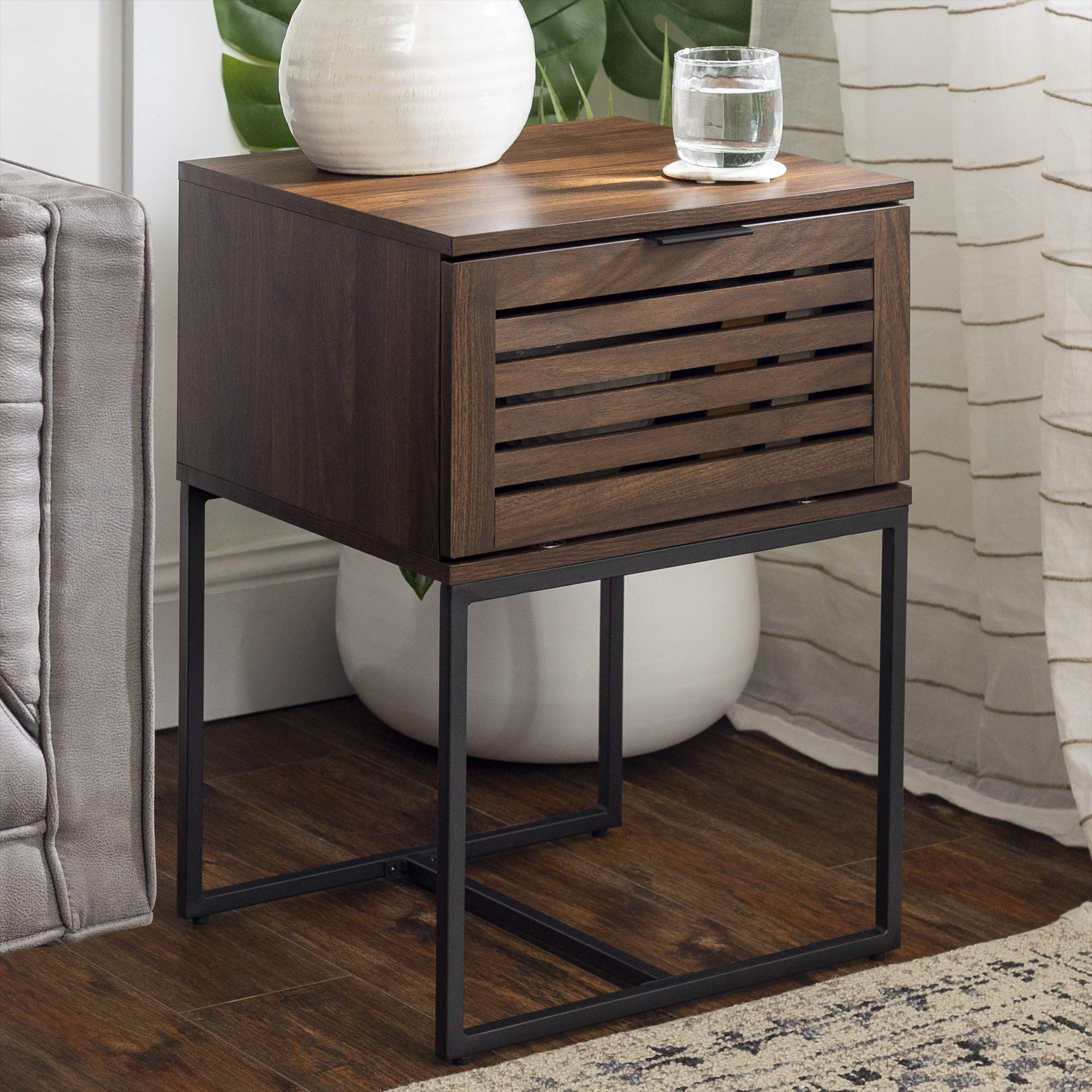 Walker Edison Modern Slatted Wood Square Side Accent Living Room Storage Drawer Small End Table, 18 Inch, Dark Walnut