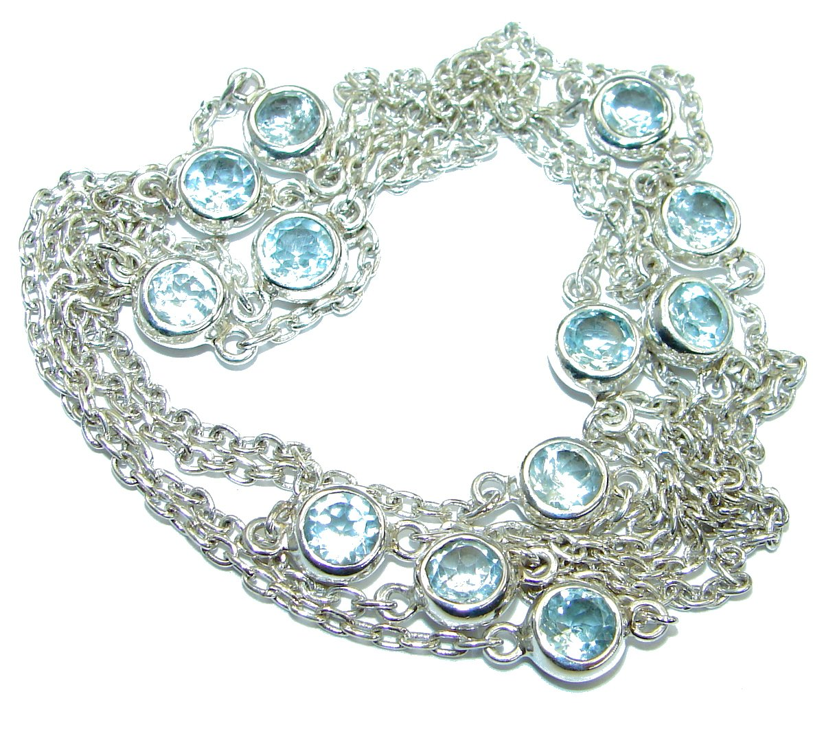 SilverRush Style Swiss Blue Topaz Women 925 Sterling Silver Necklace - FREE GIFT BOX