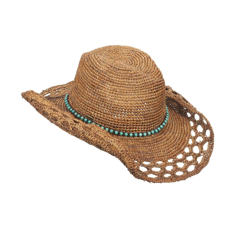 Callanan Crocheted Raffia Fashion Faux Turquoise Bead Band Cowboy Hat CR231