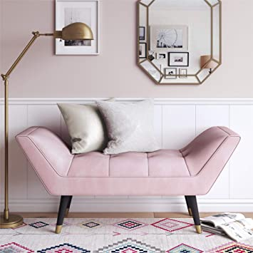 Astonishing Cosmoliving Allura Rectangular Pink Velvet Fabric Tufted Bench Ottoman With Gold Tipped Legs Evergreenethics Interior Chair Design Evergreenethicsorg