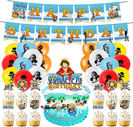 Amazon Com Molecole One Piece Party Decoraions One Piece Birthday Party Supplies Including Cake Toppers Balloon Banner Set Anime Party Supplies For Kids And Boys Toys Games