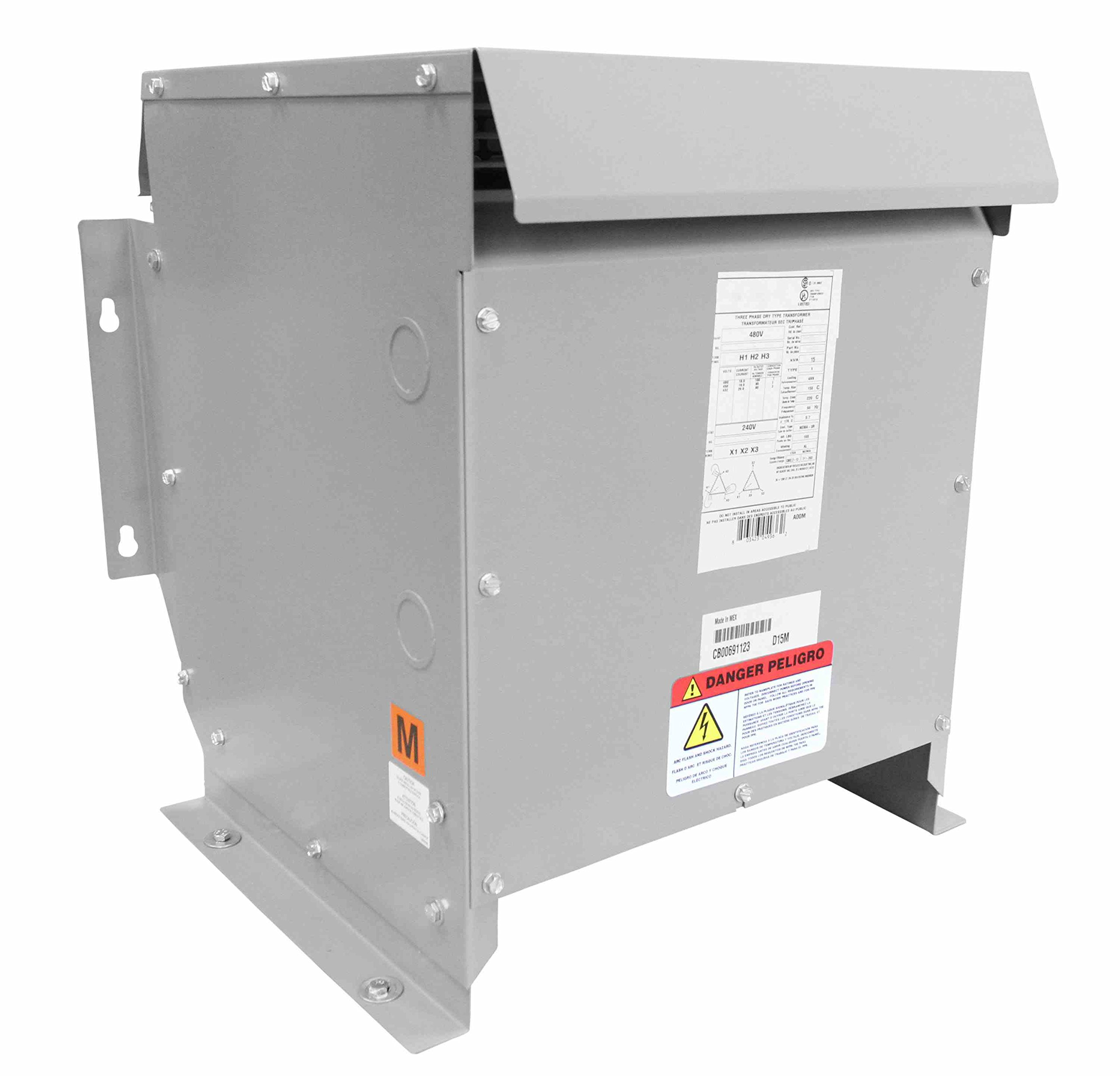 9 kVA Transformer - 480V Delta Primary Voltage - 380Y/220 Wye-N Secondary Voltage - NEMA 3R