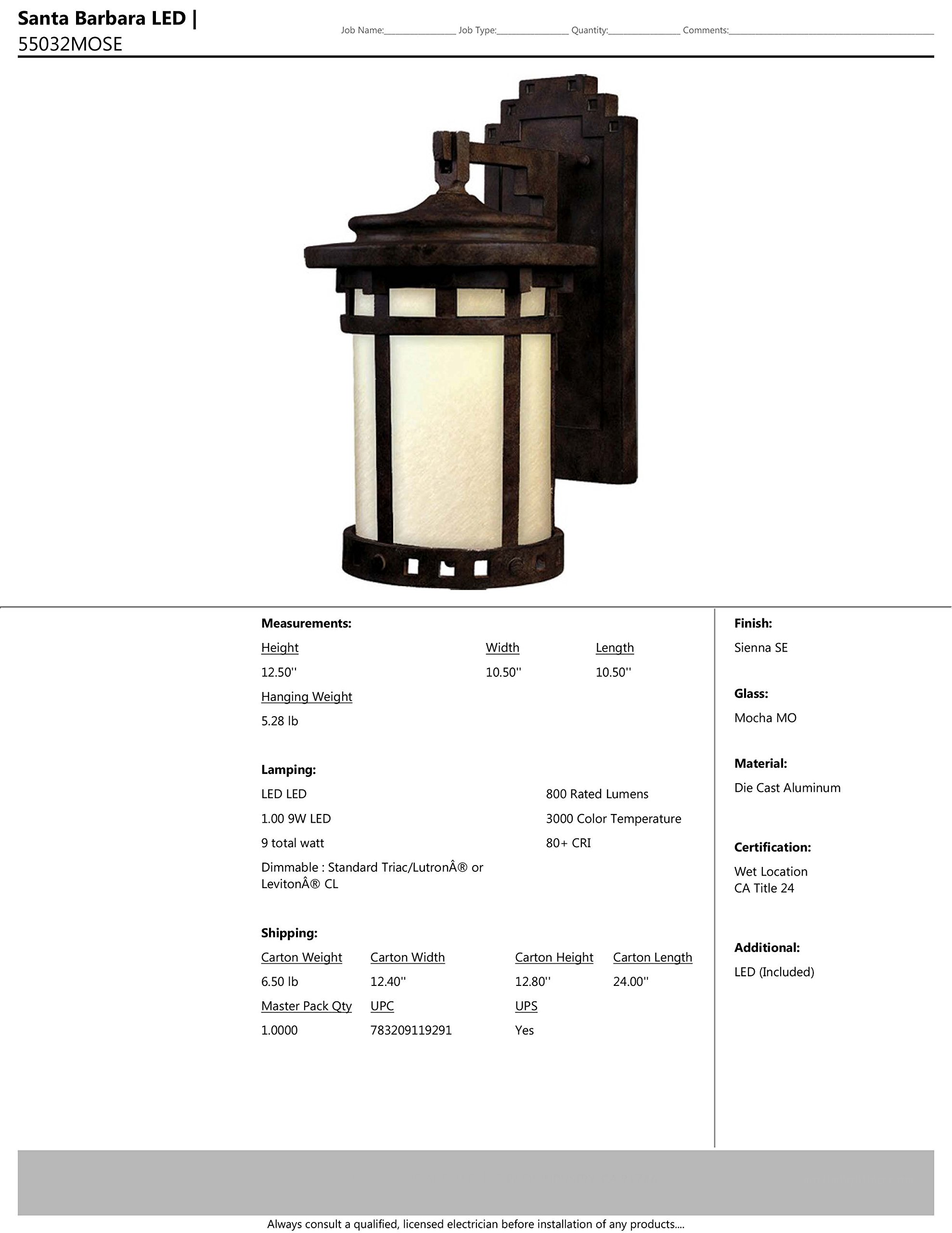 Maxim 55032MOSE Santa Barbara LED 1-Light Outdoor Deck Lantern, Sienna Finish, Mocha Glass, LED Bulb , 60W Max., Dry Safety Rating, Standard Dimmable, Glass Shade Material, 2016 Rated Lumens